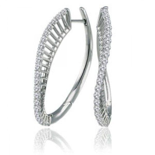 1 1/2 ctw WAVE Diamond Earrings in 14k White Gold