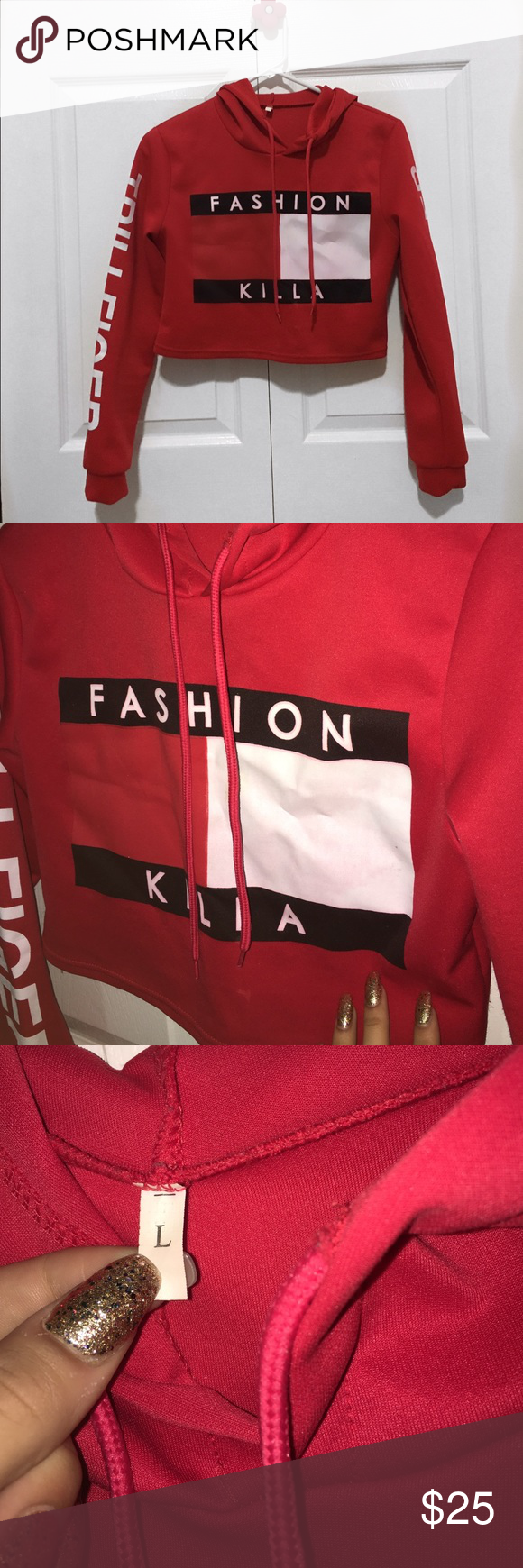 8c9278e52a929 Tommy Hilfiger Fashion Killa Cropped Hoodie in red Got this online  somewhere