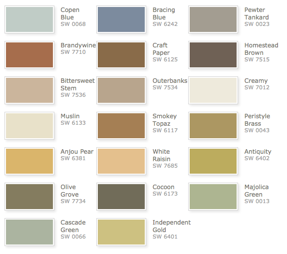 Rustic Refined Palette, Sherwin Williams   Color Pallet For House