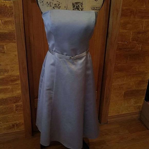 Beautiful silvery gray satin bridesmaid dress Ballerina length silver dress would be great for summer wedding. Has slight make up stain on inside of dress along top. Has boning in bodice. Dry clean only. Michaelangelo Dresses Wedding