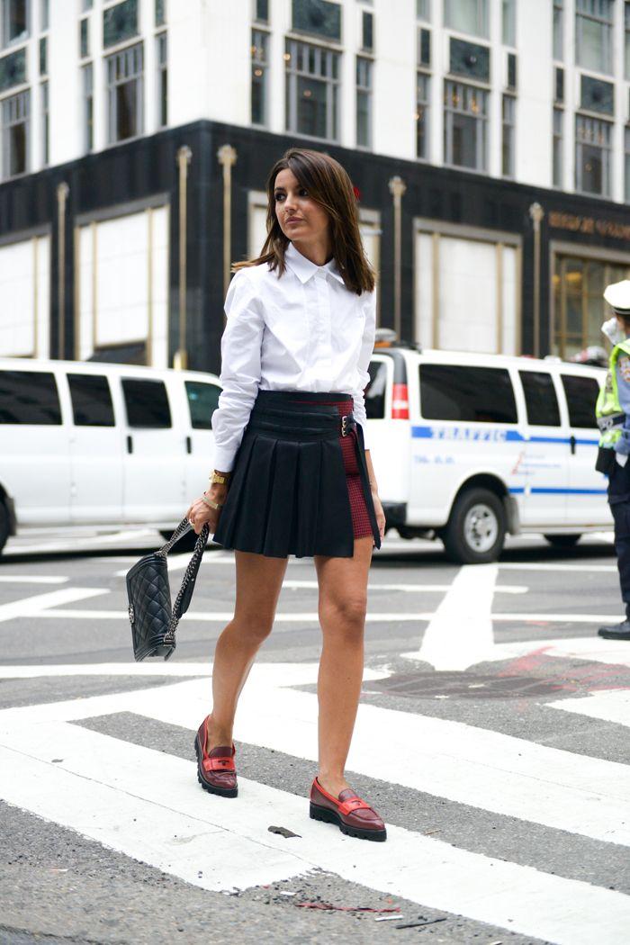 shirt: Tommy Hilfiger  skirt: Tommy Hilfiger  shoes: Tommy Hilfiger  bag: Chanel Boy watch: Sheen de Casio