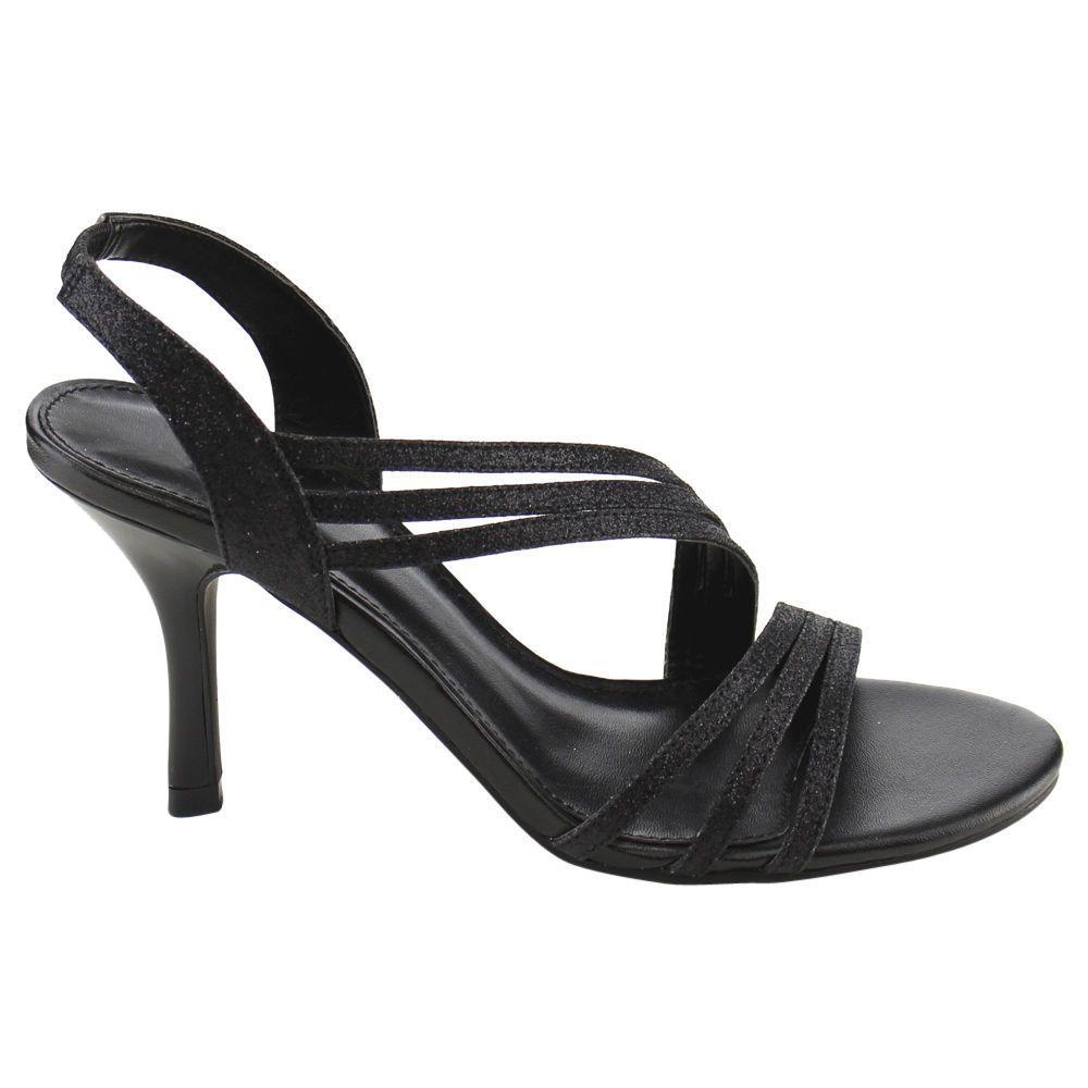 Black dress sandals medium heel - Wild Rose Cc93 Women Sparking Strappy Slip On Mid Heel Dress Sandals In Box