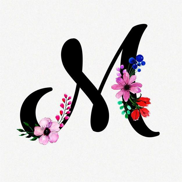 Letter M Watercolor Floral Background. Download thousands ...
