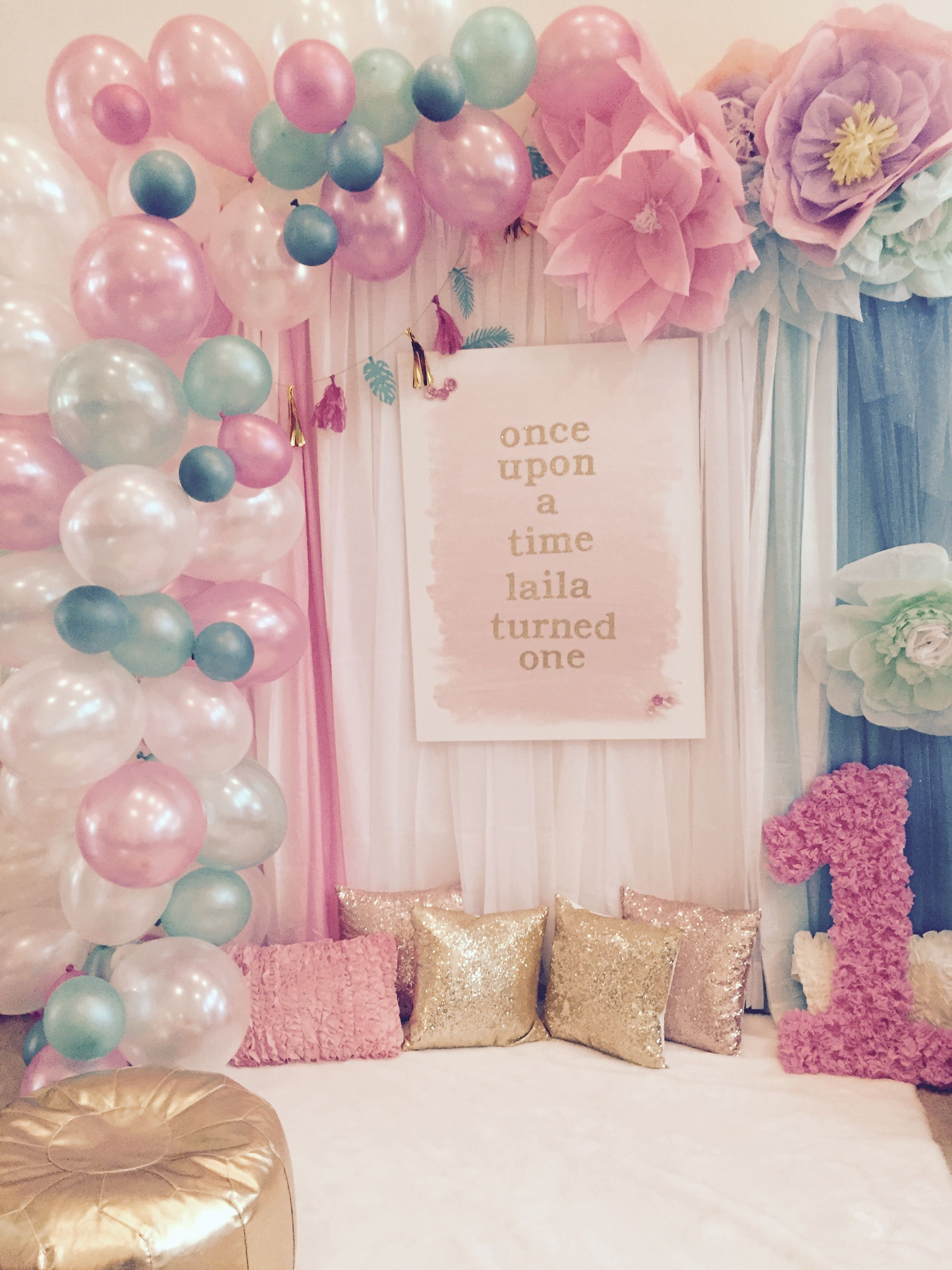Balloon arch, pink and gold, first birthday, flower backdrop ...
