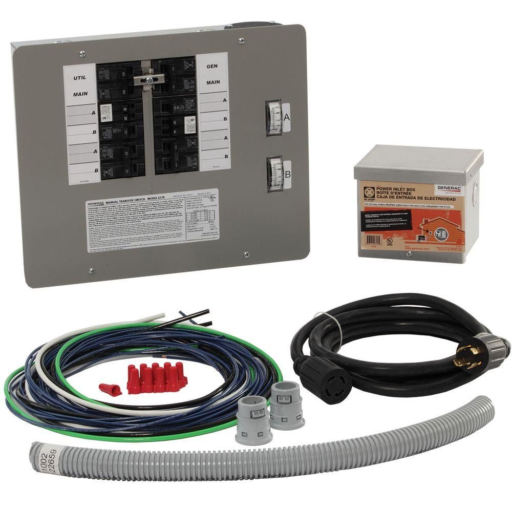 Generac 30 Amp Generator Transfer Switch Kit For 10 16 Circuits For Indoor Applications 6295 The Generator Transfer Switch Transfer Switch Home Depot Coupons