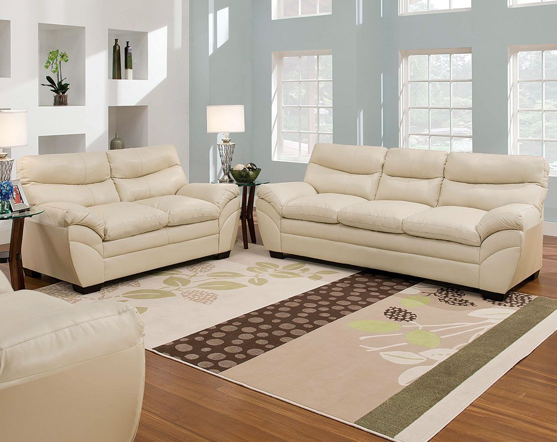 Beau Cream Couch Set, Padded Arms | Soho Natural Sofa And Loveseat