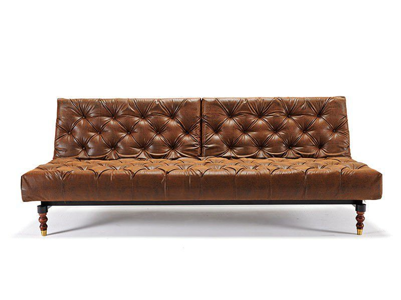 Oldschool Chesterfield Sofa Bed Vintage Brown Leather Textile By