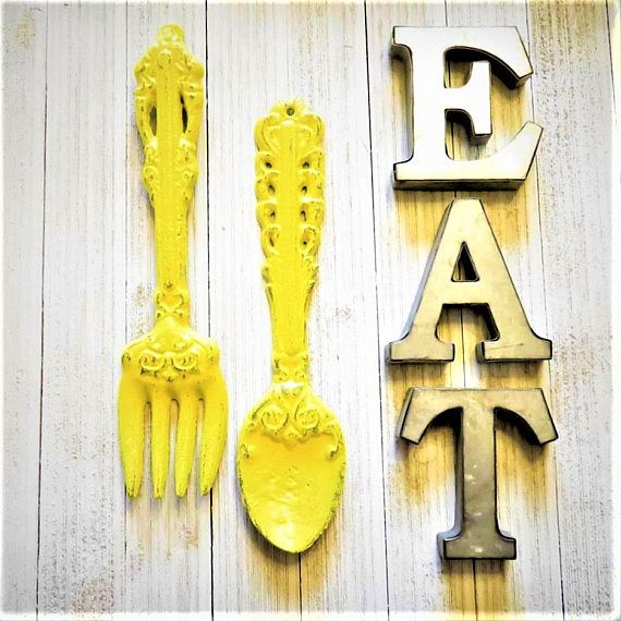 Kitchen Wall Decor, Kitchen Wall Art, EAT Letters, Fork,Spoon, EAT ...