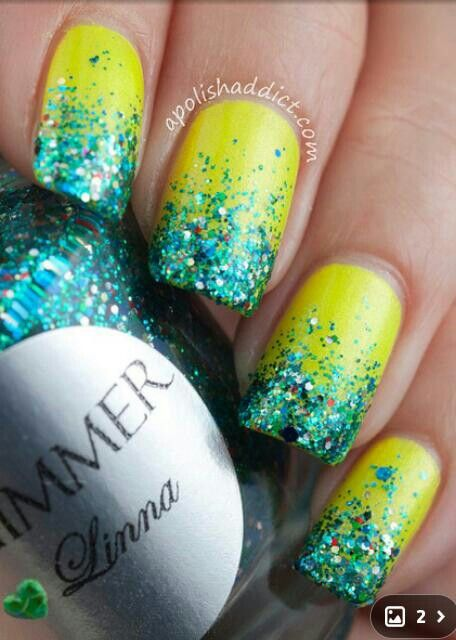 neon yellow/green with blue sparkly ombre