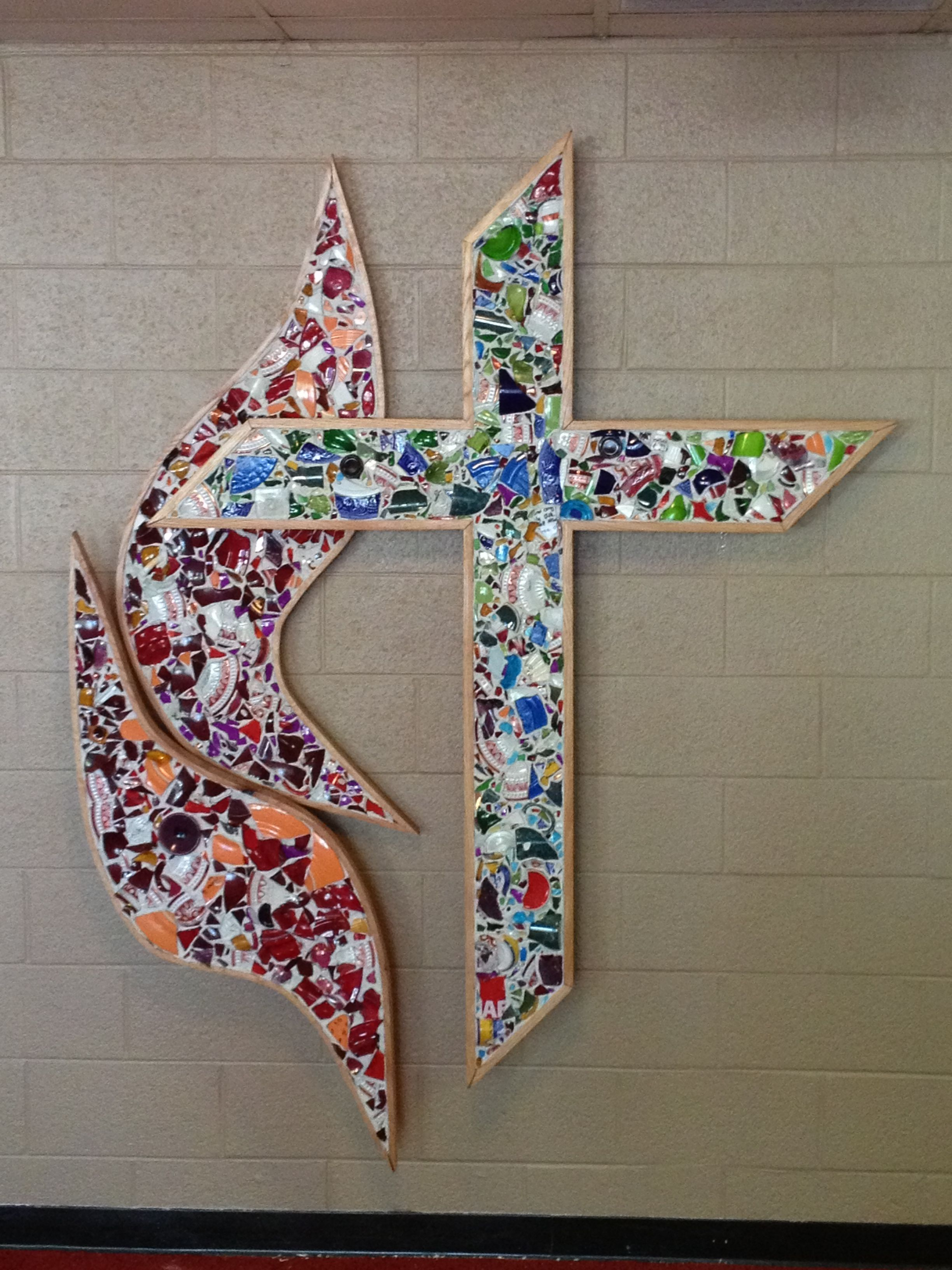 United Methodist Cross And Flames Mosaic At St John S Umc