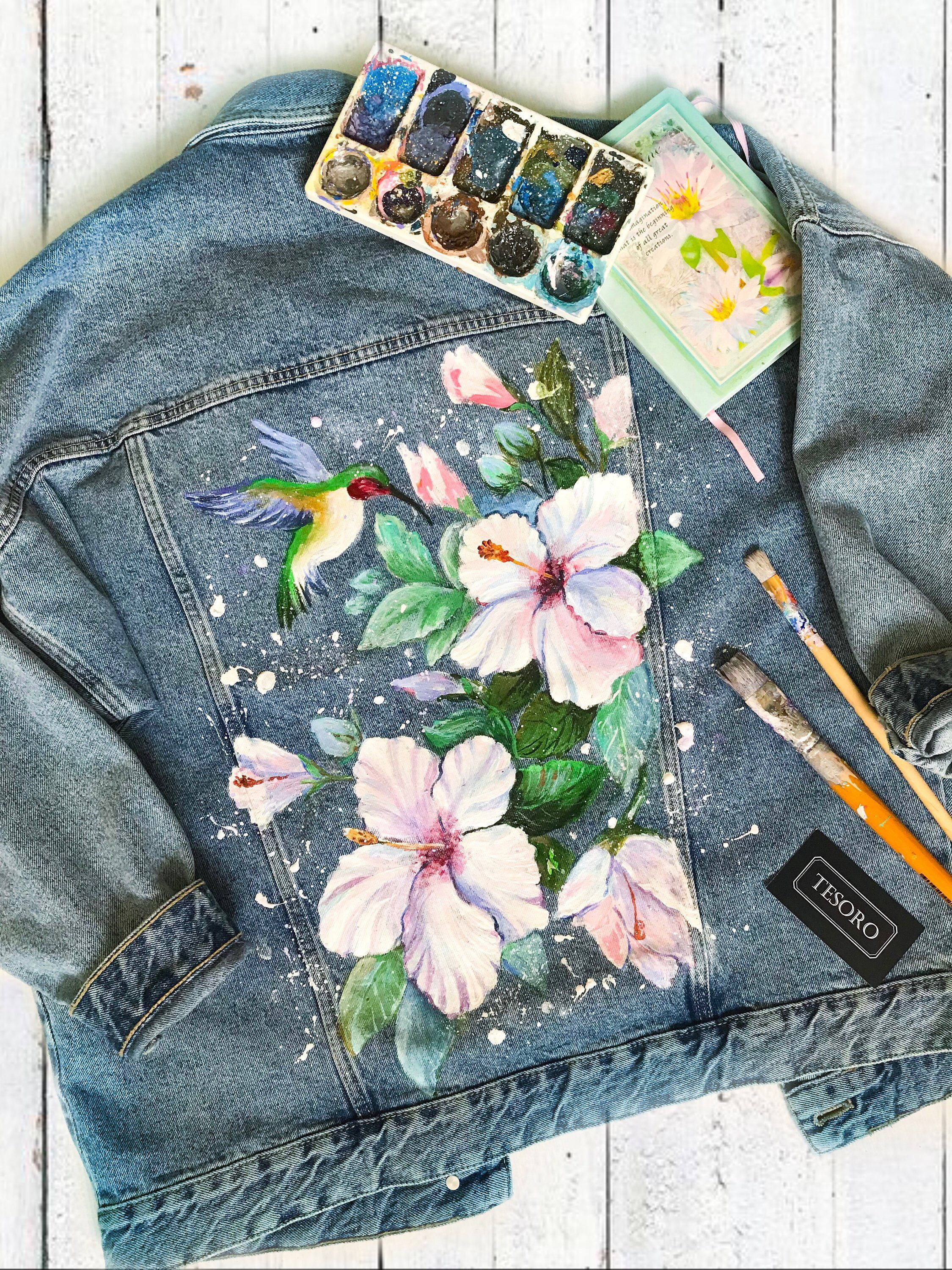 Hand Paint denim jacket/Hand Painted Denim Jackets, hand painted denim,painted clothing Hummingbirds and flowers Hand painted Denim Jacket