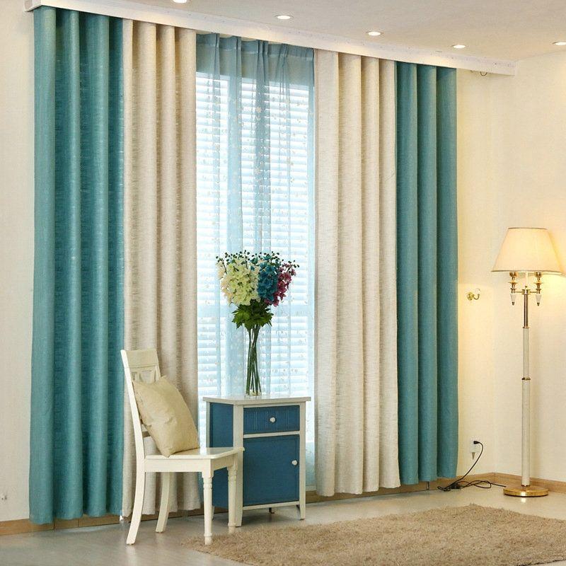 Rideau en polyester pais combinaison des couleurs pures - Rideaux salle a manger salon ...
