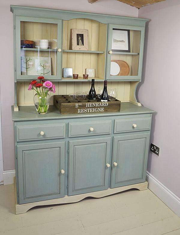 Shabby Chic Farmhouse Welsh Dresser Blue Cream