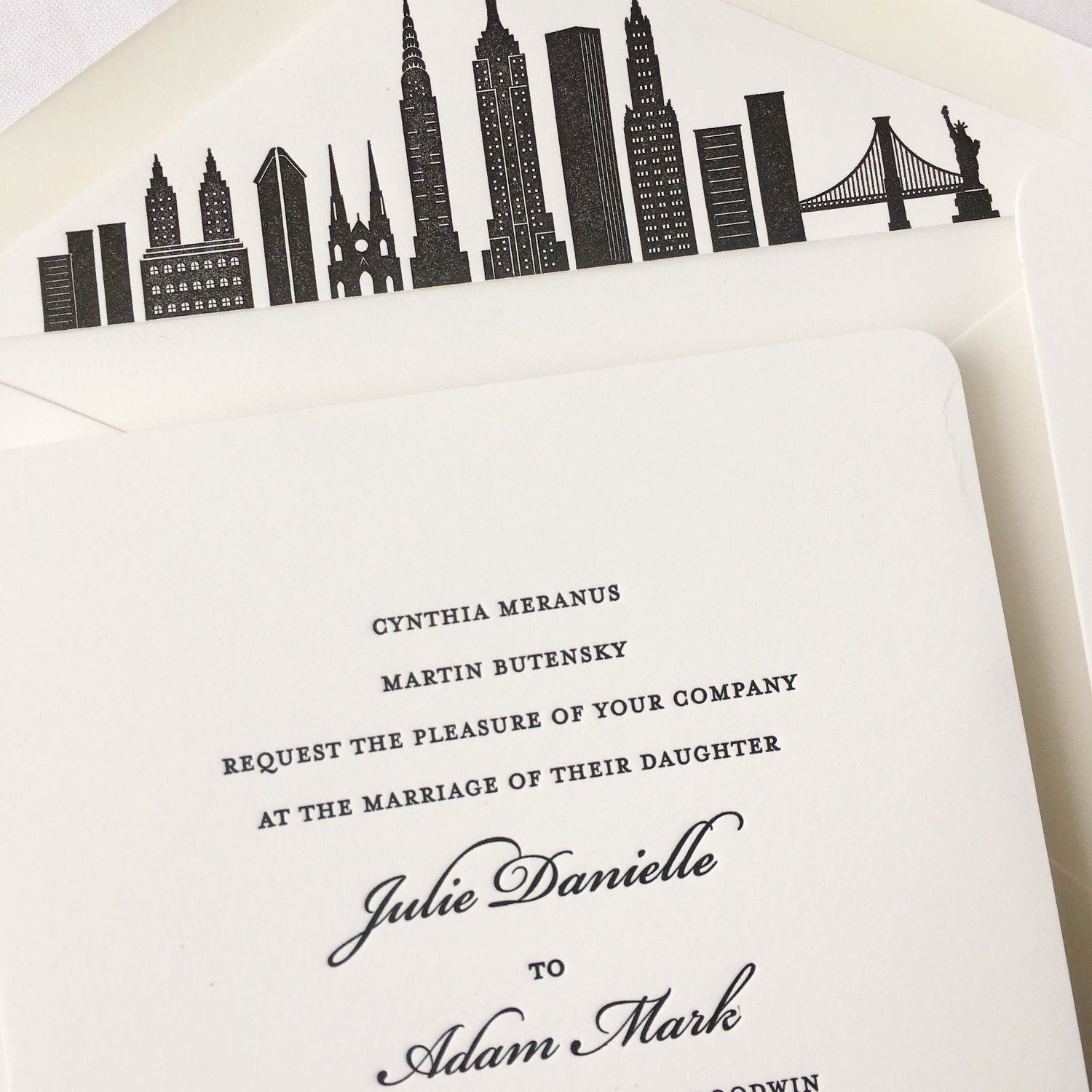 Timeless Wedding Invitations In Black With A Custom Envelope Liner Featuring An Ny Timeless Wedding Invitations City Wedding Invitations Custom Envelope Liners