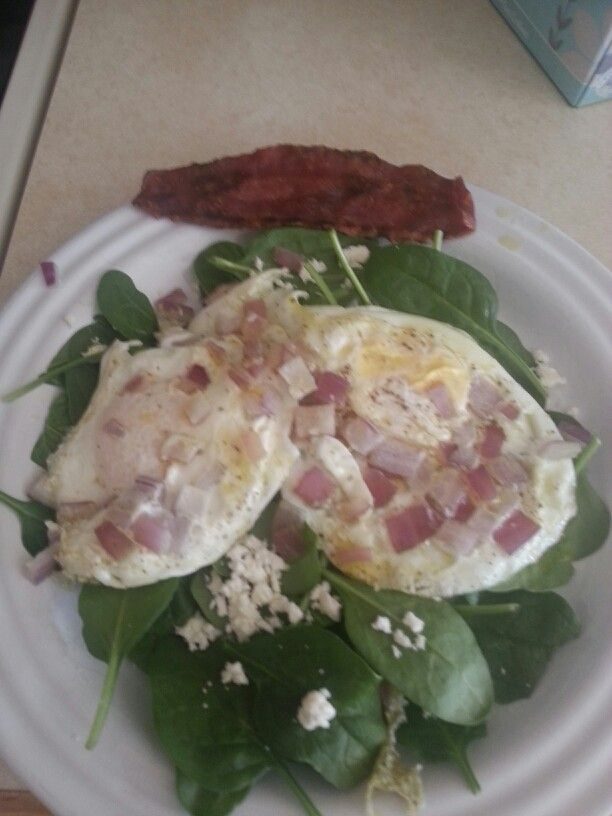 Spinach, feta, red onion, pepper, eggs cooked in olive oil. Yummy