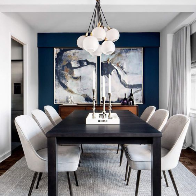 What S Hot On Pinterest 5 Blue Ideas For Your Dining Room Small Dining Room Decor Mid Century Dining Room Black And White Dining Room