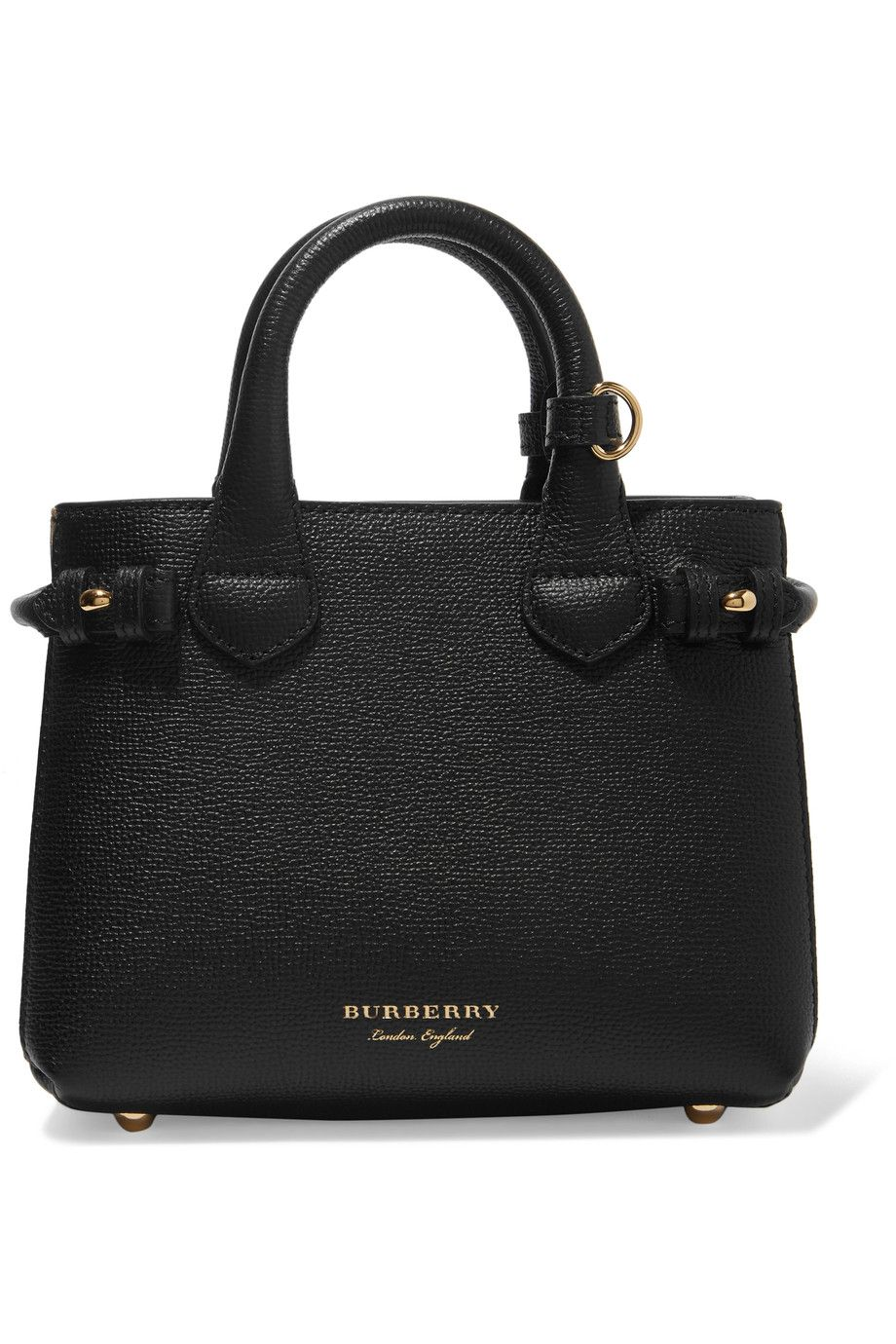 BURBERRY Textured-leather and checked canvas tote
