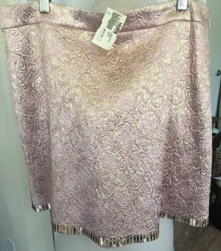 NWT BLUMARINE Pink With Gold Embellished Skirt Sz 42/US 8 Ret $615