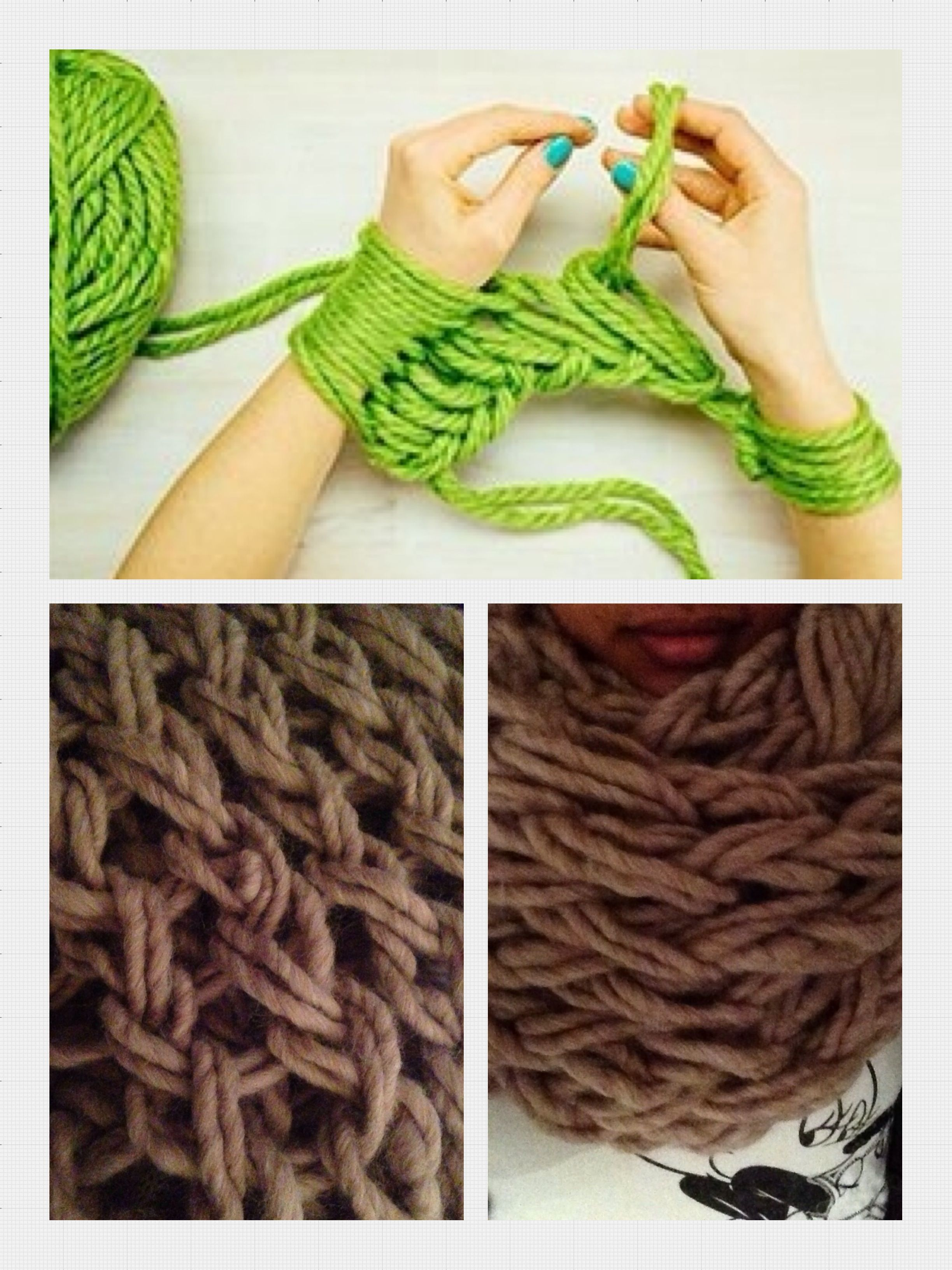 Arm breien... een manier om super snel een sjaal, een poef of een vloerkleed te breien. Klaar in no-time!