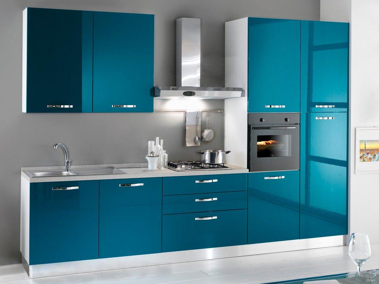 cocinas pequeñas de color azul turquesa   Cosinetas   Pinterest ...