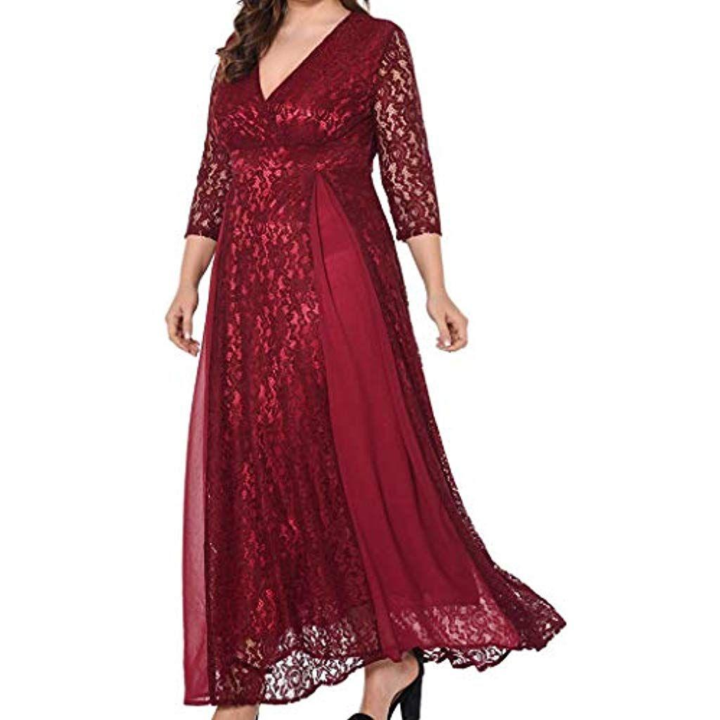 abito nero lungo maxy v neck dress half sleeve manica 3//4 pizzo party elegante