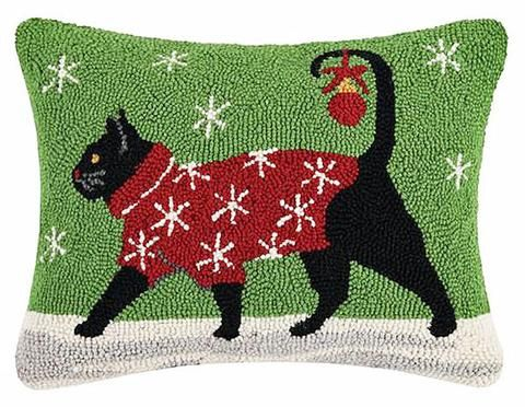 "Designer Suzanne Nicoll Winter Walking Snowflake Cat - 14"" x 18"" Wool Hooked Pillow"