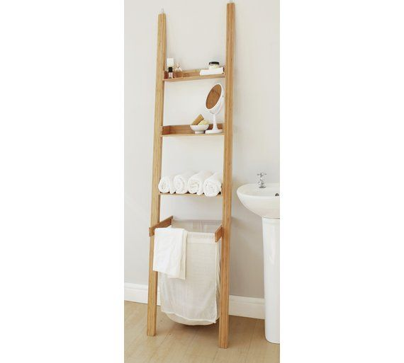 Collection Large Bamboo Ladder Shelf With Laundry Bag At Argos Co Uk