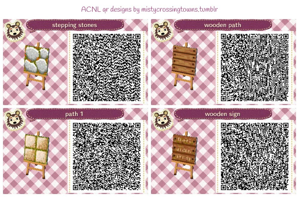 Qr Codes For Rustic Acnl Towns Stepping Stones Stone Tiles