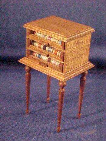 Walnut Tri Drawer Thread Spool Cabinet Vintage Sewing