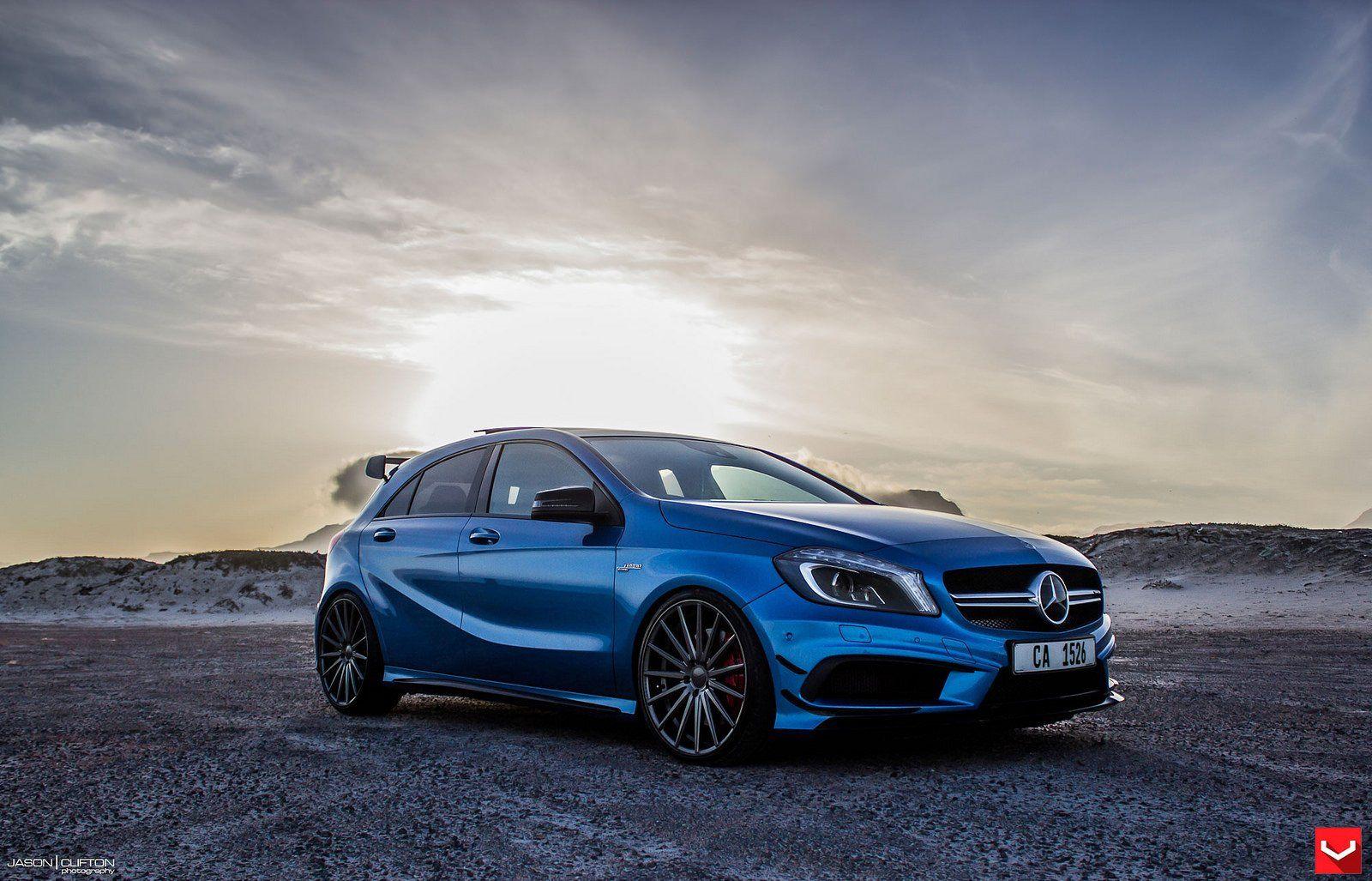 Vossen Wheels Mercedes A45 Amg Blue Tuning Cars Wallpaper Mercedes A45 Amg A45 Amg Mercedes A45