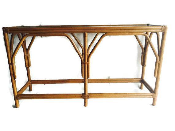 Vintage Bamboo Sofa Table Rattan Console Table Bentwood Etsy Tribal Home Decor Bamboo Sofa Sofa Table