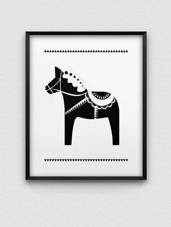 dala horse print nordic style print black and white home decor