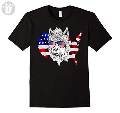 Mens Funny Llama Independence Day T-shirt Medium Black - Funny shirts (*Amazon Partner-Link)