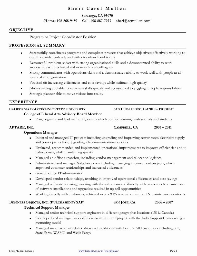 Project Management Job Description Resume Fresh Project Coordinator Resume