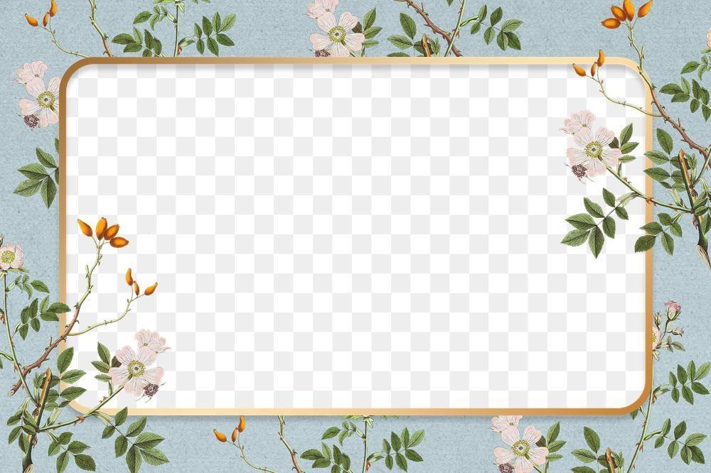 Download Premium Png Of Vintage Floral Frame Png Landscape Copy Space Flower Frame Floral Background Frame