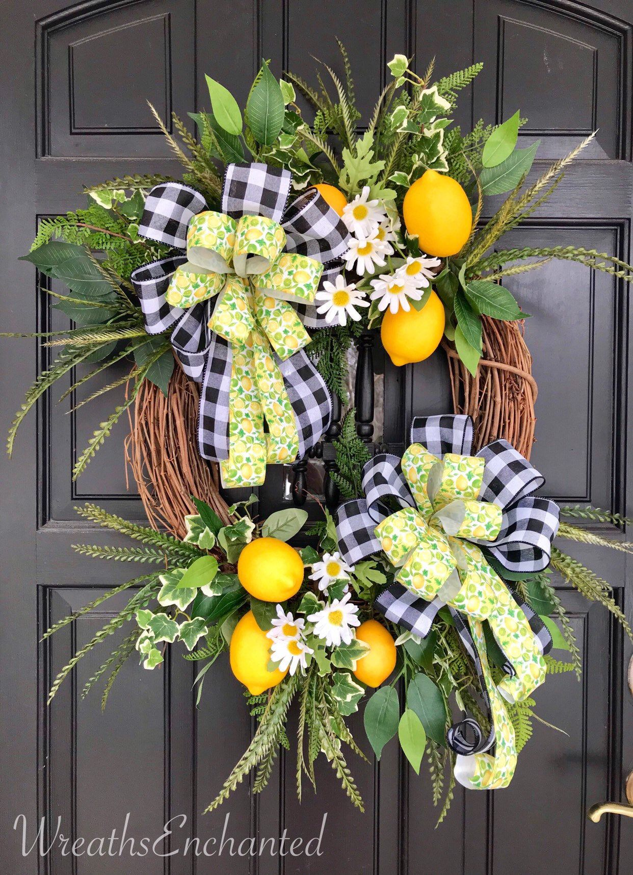 Photo of Lemon Wreath Farmhouse Wreath Front Door Spring Summer Wreath Yellow Buffalo Check Bow Mothers Day Kitchen Wreath Free Shipping
