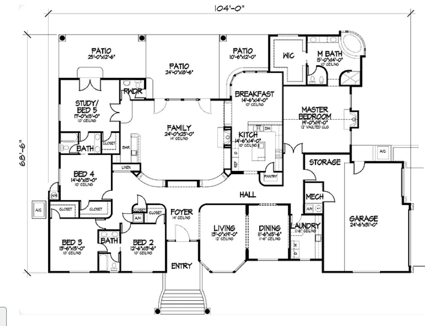 Pin by Rita susana on floor plan 5 bedroom house plans
