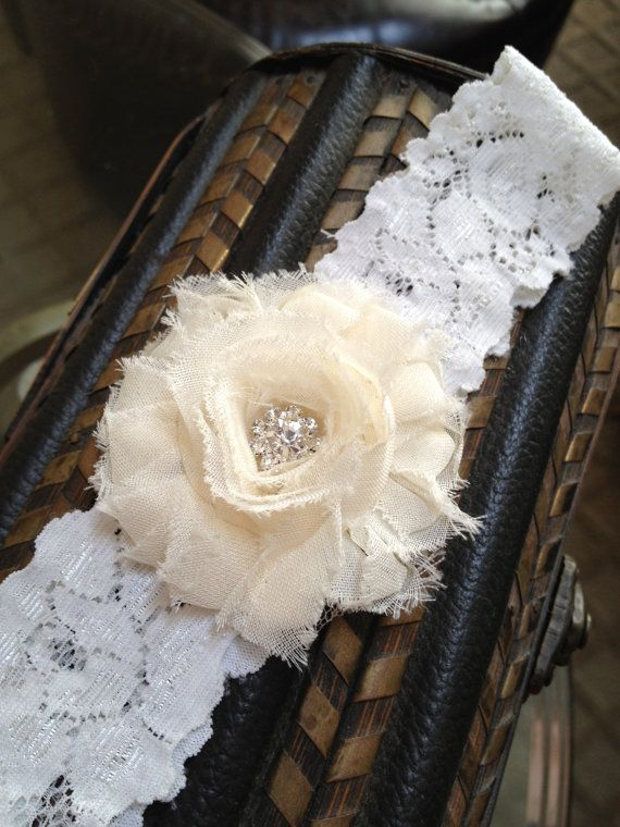 WHITE or IVORY Shabby Chic Garter with by LolaBridalDesigns, $10.00