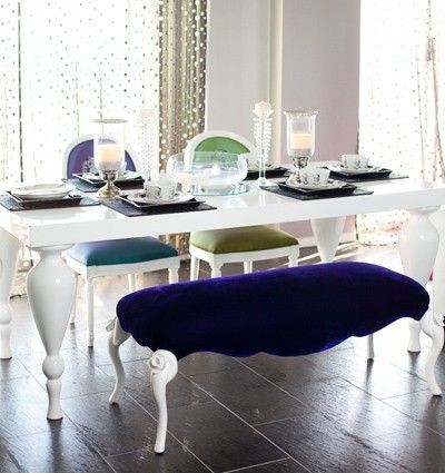 White Lacquer Dining Table Featuring Elegantly Carved