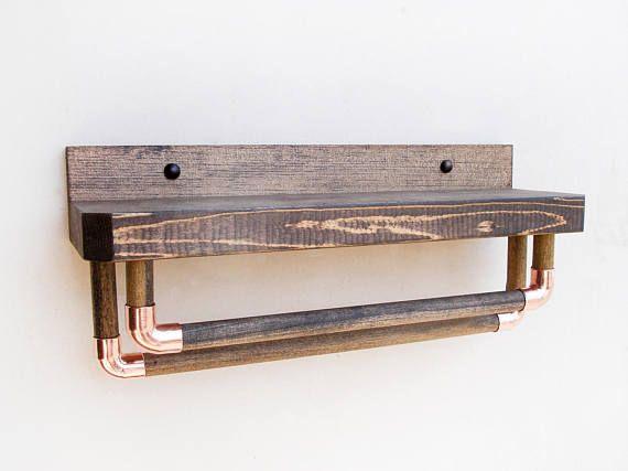 Toalla de ba o de rack almacenamiento de ba o rusticos for Toalleros rusticos