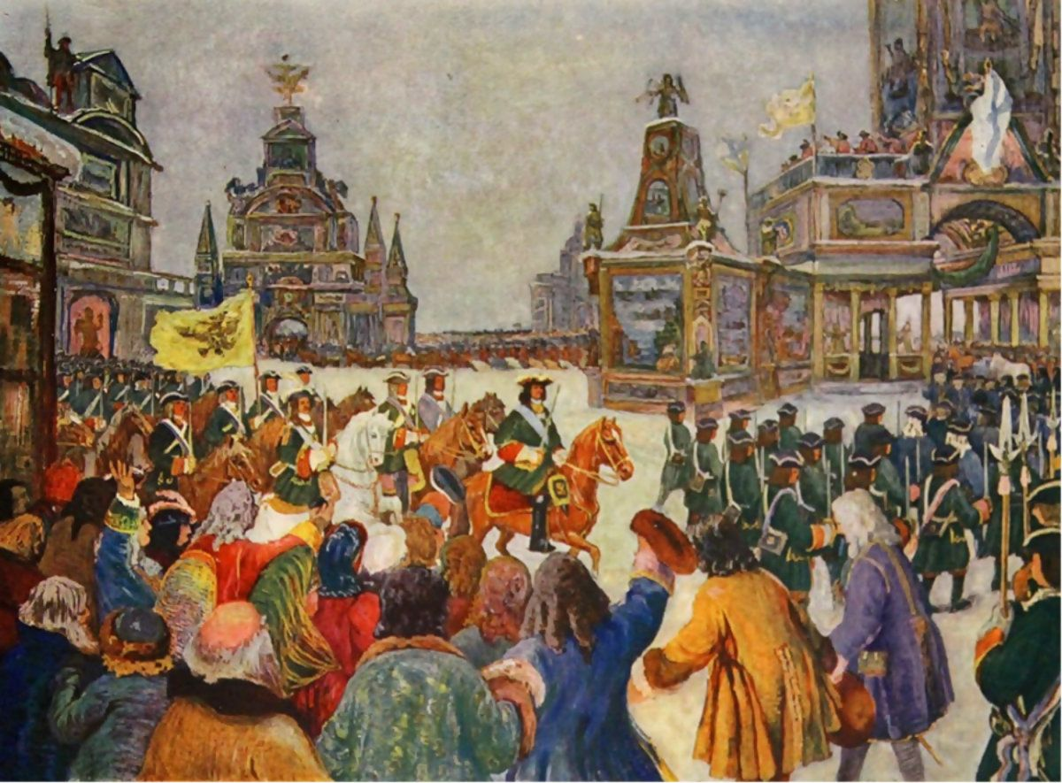 Tsar Peter the Great's triumphal parade in the Kremlin, Great Northern War