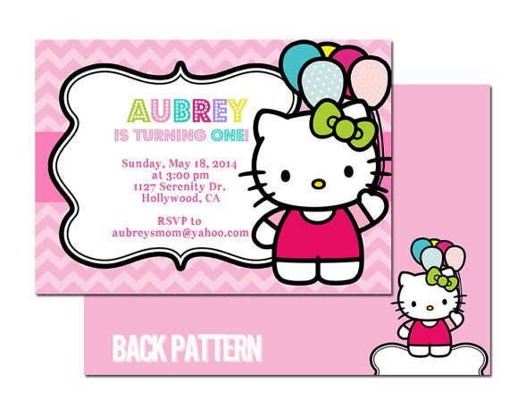 Hello Kitty Birthday Invitation Party Digital by graphicsmarket, $10.00