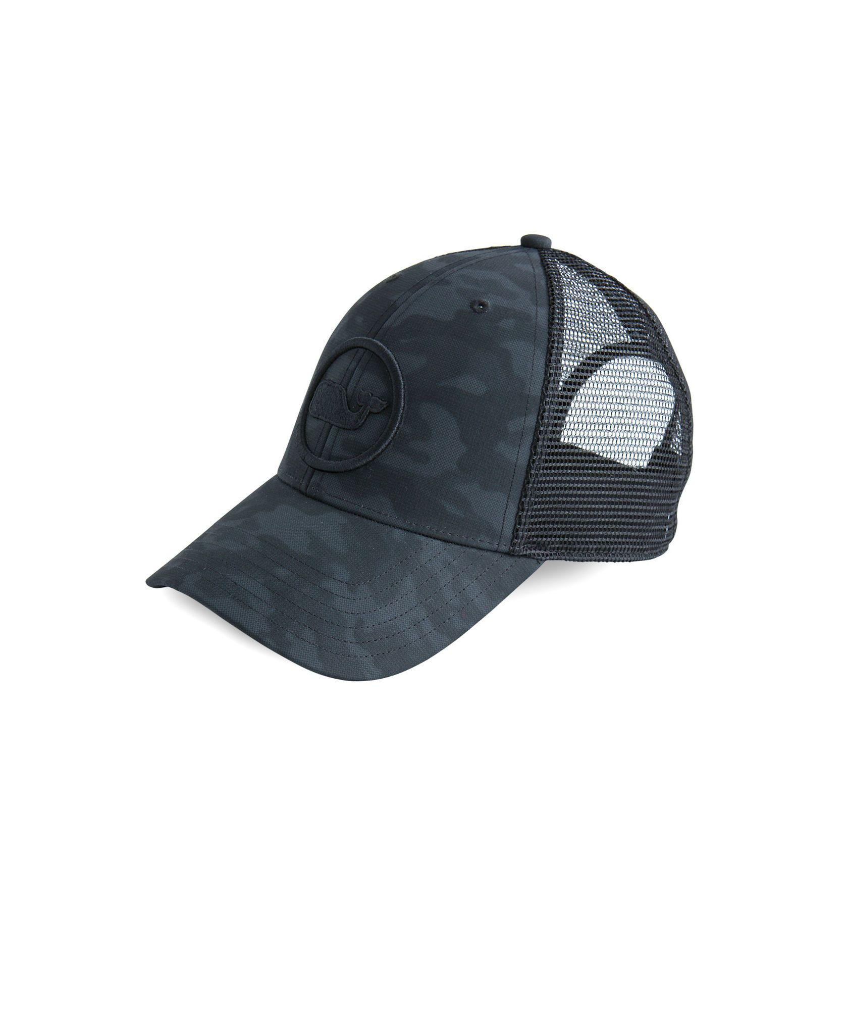 3c89139e0 Shop Embroidered Whale Dot Performance Camo Trucker Hat at vineyard ...