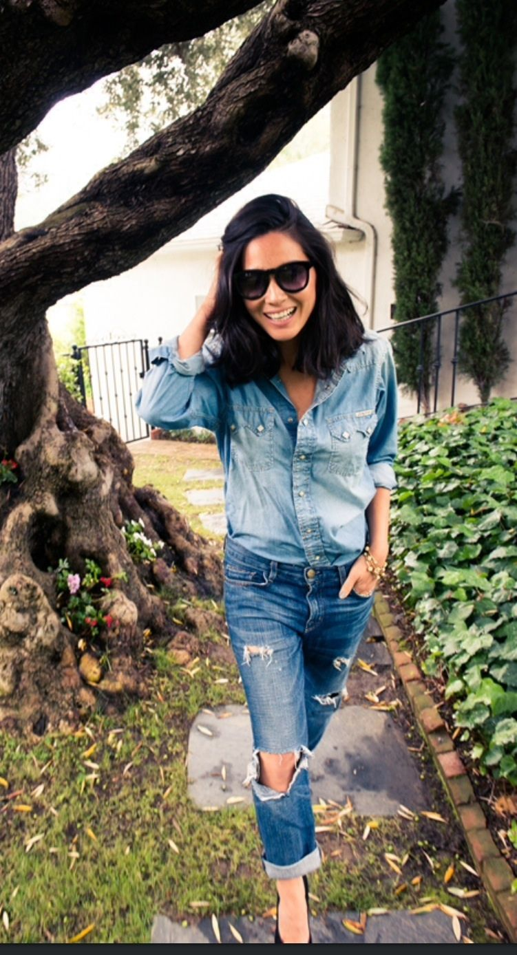 Perfect combo of denim on denim. The western denim shirt is a closet must and not enough can be said about wearing distressed ripped boyfriend jeans.