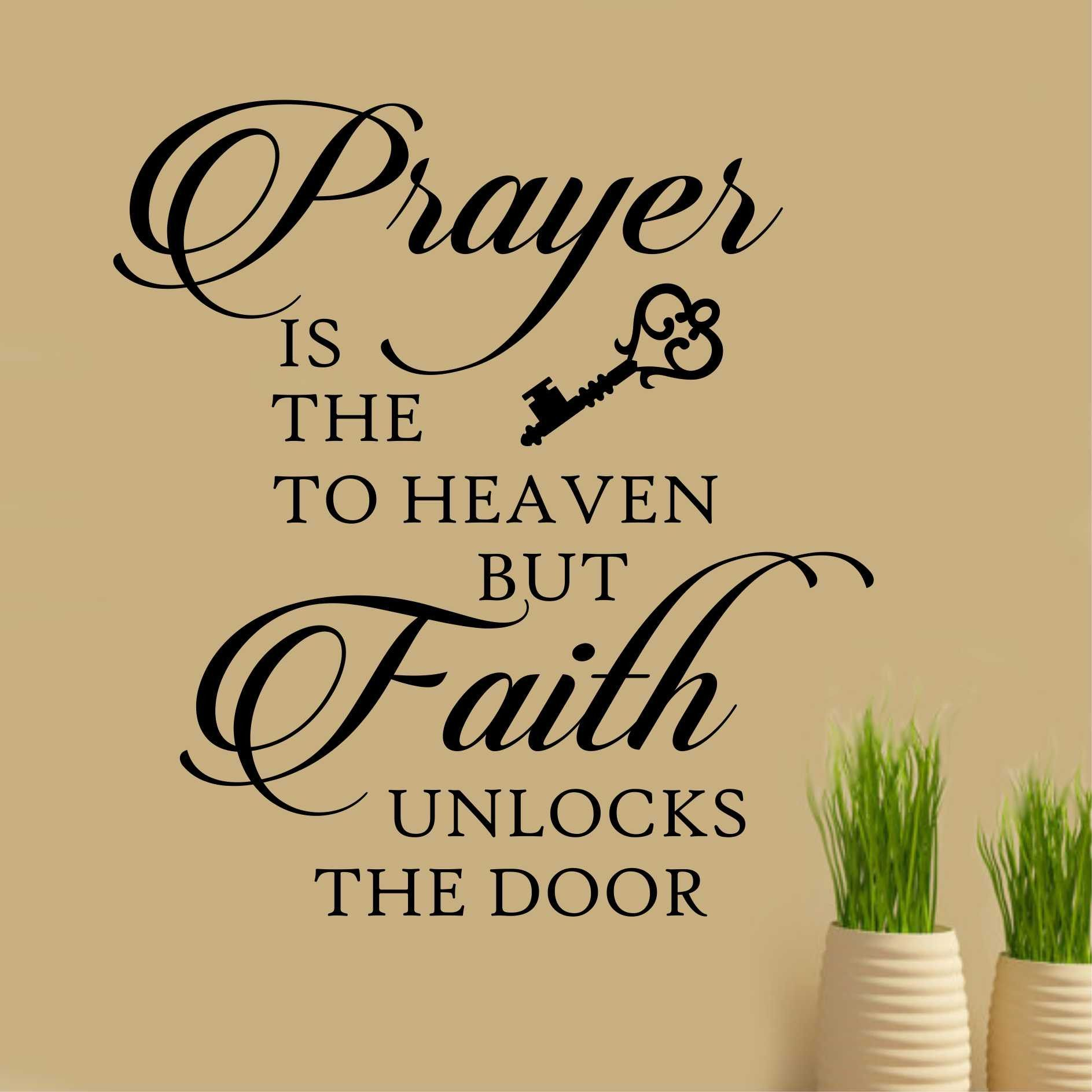 Prayer is Key Faith Unlocks   Vinyl Wall Lettering   Religious Decal ...