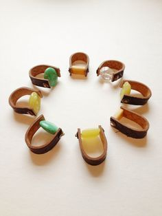 ** Leather And Stone Jewelry Rings @thebrassrazoo