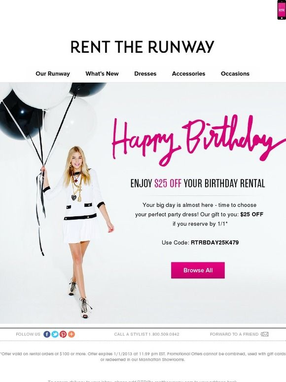 Rent The Runway Birthday Email 25th Birthday Gifts Email Marketing Examples