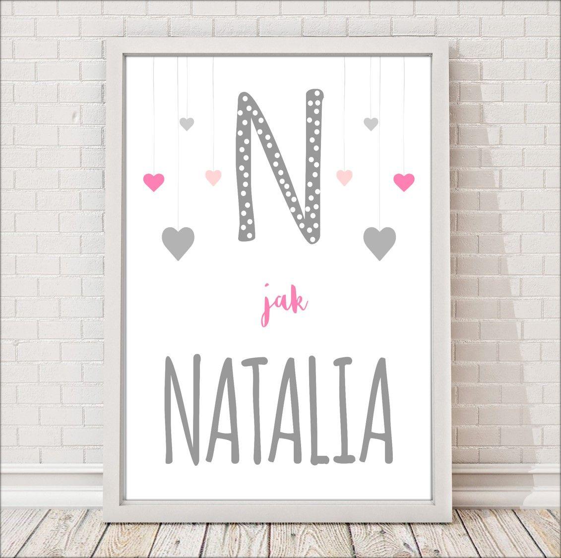 N Jak Natalia Serduszka Plakat Dla Dzieci Personalizowany Home Decor Home Decor Decals Decor