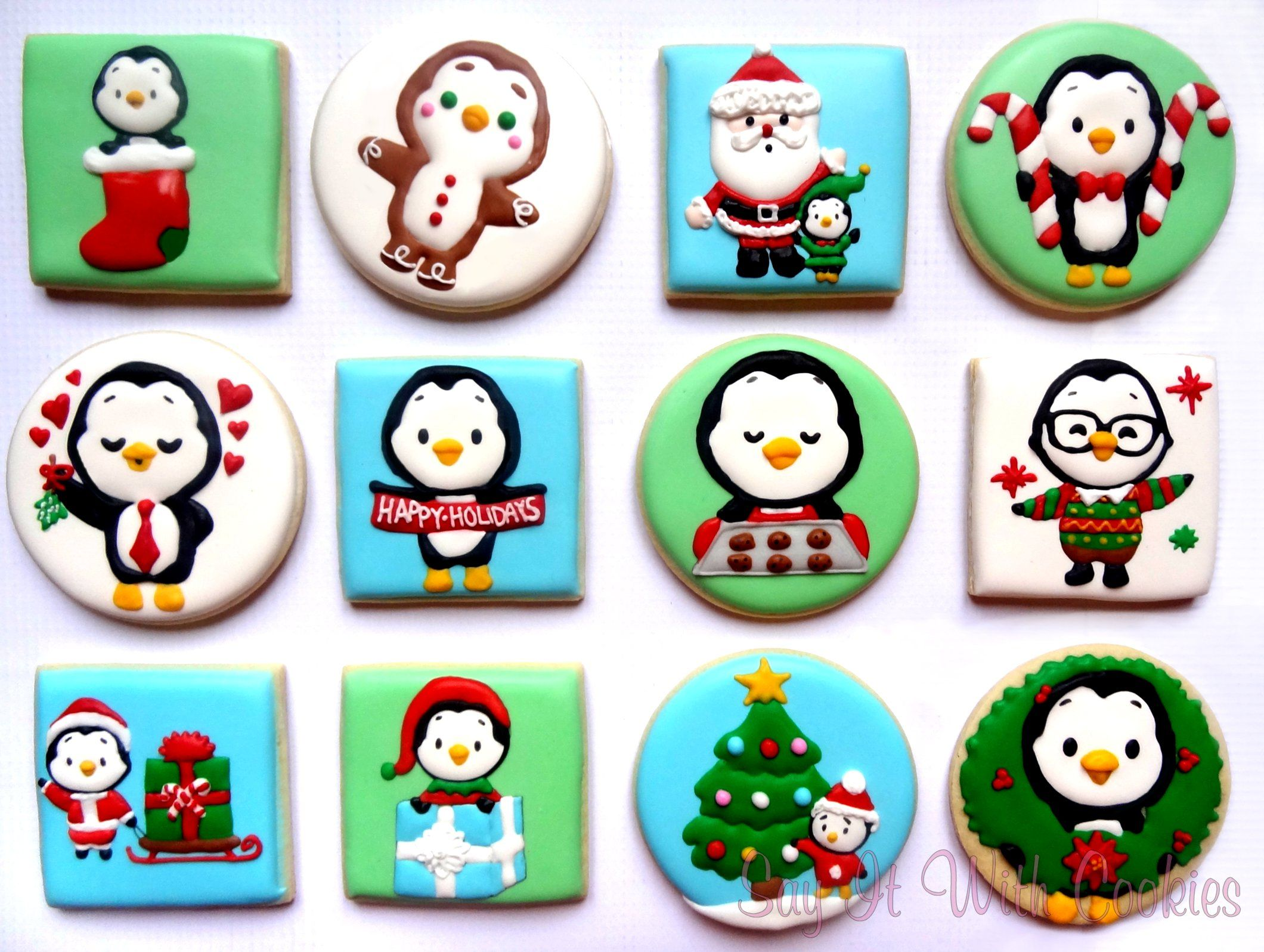 Facebook Sticker Waddles The Penguin Hand Decorated Sugar Cookies