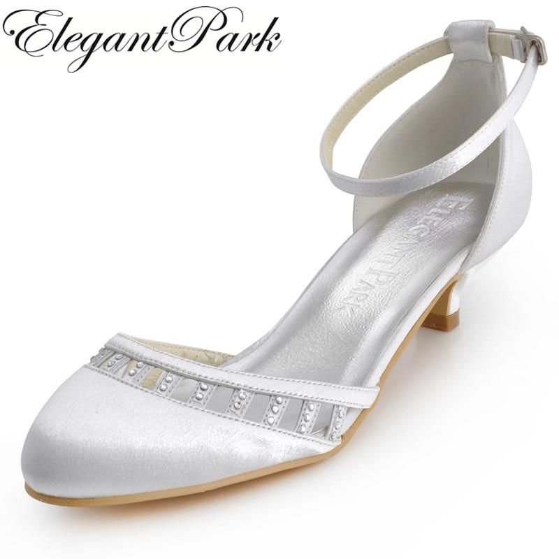 bbe9d91235a Women Shoes White Ivory Low Heel EL-001 Closed Toe Ankle Strap Comfortable  Bride Lady